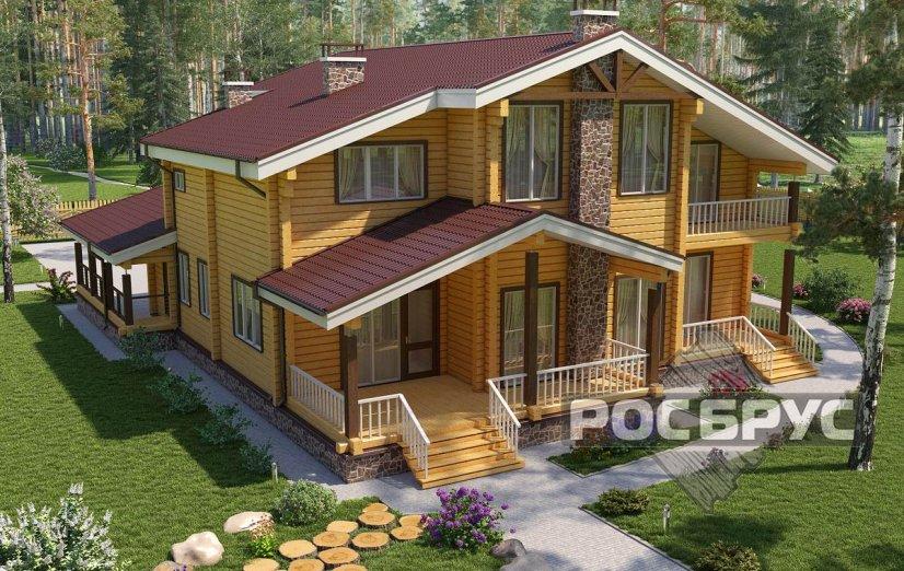 Проект дома из клееного бруса КБ-335, 14х14 м - главная