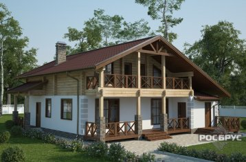 Проект комбинированного дома КД-211, 12х12 м
