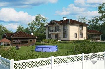 Проект дома из клееного бруса КБ-263 с гаражом, 10,5х13,5 м