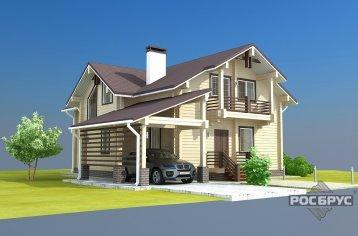 Проект дома из клееного бруса КБ-236, 15х15 м