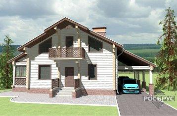 Проект дома из клееного бруса КБ-185НГ, 16х10 м