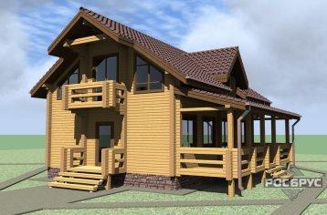 Проект дома из клееного бруса КБ-193, 11х10 м