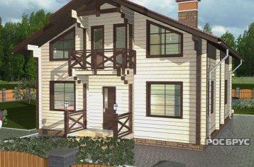 Проект дома из клееного бруса КБ-198, 9х12 м