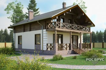 Проект комбинированного дома КД-193, 9х12 м