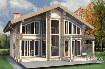 Проект дома из клееного бруса КБ-138, 9х9 м