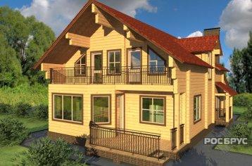 Проект дома из клееного бруса КБ-230, 17х11 м
