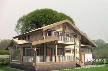 Проект дома из клееного бруса КБ-258, 16х14 м